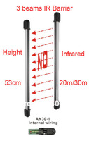 3 three beams infrared Barrier IR sensor distance:20/30m.Height:53cm with internal wiring Infrared Barrier detector 2pairs/lot