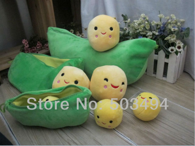 Wholesale 9'' Pea Plush Three peas in a pod pea doll golden plush toy gift girlsGift Toys popular Free Shipping 10/LOT