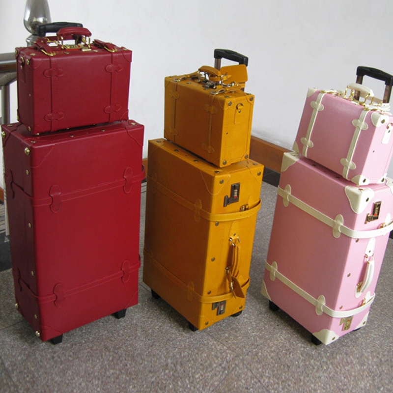 Vintage leather box universal wheels luggage pink fresh travel bag trolley female 20 24 - Online Store 903572 store
