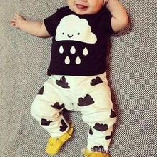 New style summer baby boys girls clothes t-shirt + pants cotton suit children set Kids clothing bebe next infant clothing WY2