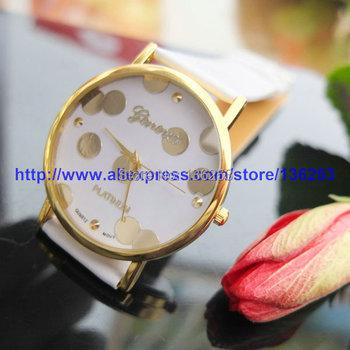 New Fashion Super Design Colorful Girl's Sweet Small Dots Geneva Leather Quartz Analog Wrist Watch Women's Gift 100pcs/lot