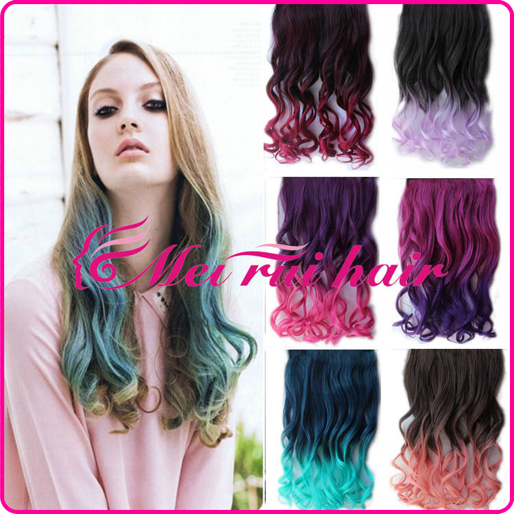 2015 New Arrival Promotion 1 Piece Only Clip-in Curly Chinese Hair Color Gradient Human Hair Wigs Five Card And A Chip Long Wig(China (Mainland))