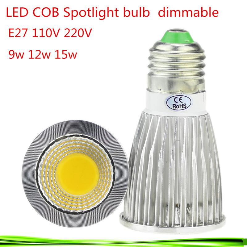 1X High Power E27 9W 12W 15W 110V 220V Dimmable CREE Led COB Spotlights Warm/Natural/Cool White e27 downlight LED lamp light(China (Mainland))