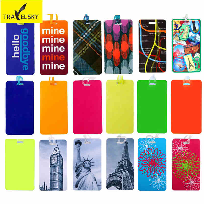Luggage tag PVC material multicolor Styles mix business travel bags tags pull rod box sign 5 pcs/lot 13112 - Travelsky Co. store