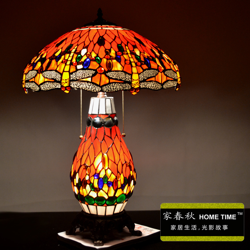 2014 free shopping, fashion tiffany lamp american style living room dragonfly table lamp dia 40*45cm high(China (Mainland))