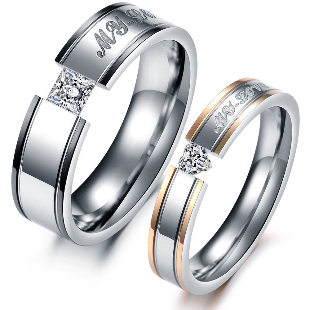 Buy His And Hers Promise Ring Sets Stainless Steel Engagemen