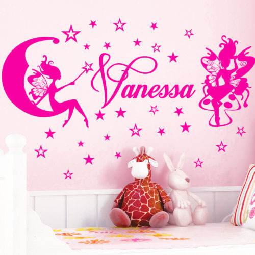 Custom English name stars fairy children's room bedroom wall stickers home decor PVC trade custom P704 - Cecilia Yip Store store