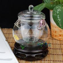 Flower pot grasping pot black tea flowers and glass tea set interaural pot tea pot
