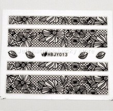 10pcs/lot Beauty 3D Nail Art Decals Stickers  For Nail Tips Decoration Tools Black Flower Lace Design Nail Supplies