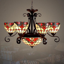 New Arrival Vintage Style Stained Glass 6 Arms Shade Chandelier with Ceiling Pendant Light,YSLC-3,Free Shipping(China (Mainland))