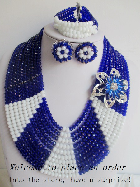 2015 Fashion blue african crystal beads necklace set nigerian wedding african beads jewelry set Free shipping P-1232<br><br>Aliexpress