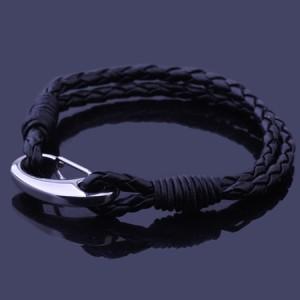 Hot casual simple titanium steel bracelet braided stainless steel lether charm bracelet fashion wild boys/girl bangles wristband(China (Mainland))