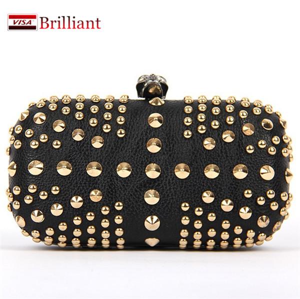 New style fashion Rivet bag women evening Party bags clutch wallet Purses and Handbags for Lady gift dropshipping Black/Silver(China (Mainland))