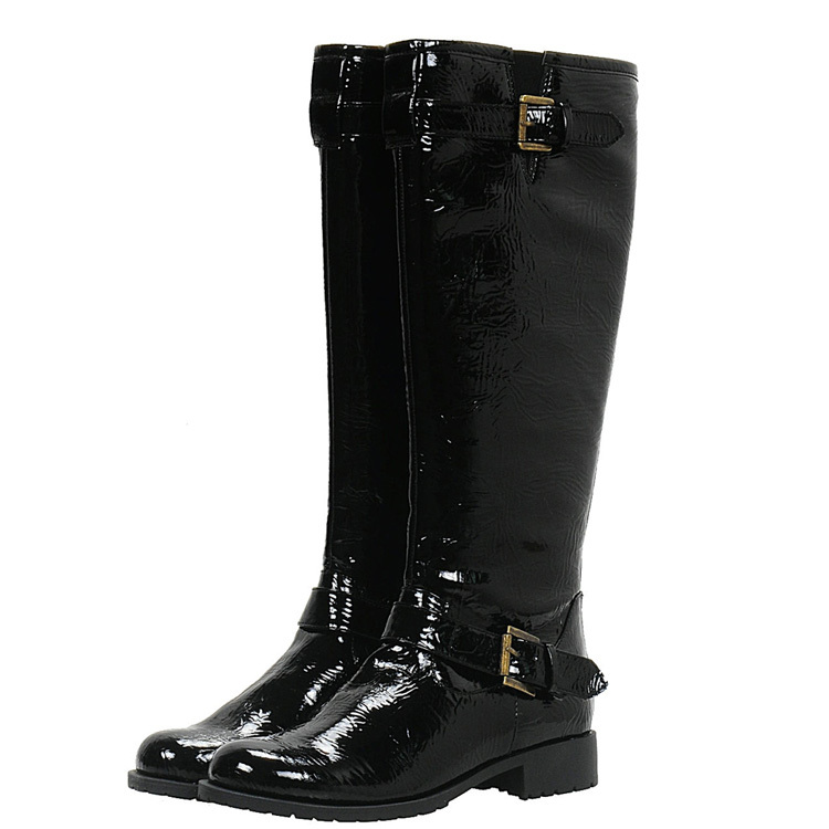 fashion black high leather snow boots for winter