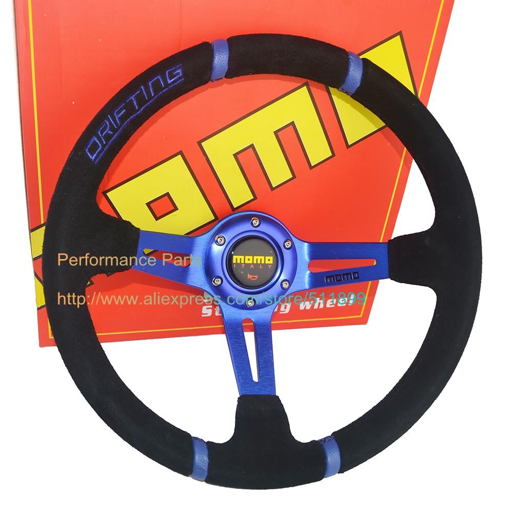 90mm Dish MOMO Steering Wheel Suede Drifting Steering Wheel Embroid Sport Car Steering Wheel 350mm Red/Blue/Yellow(China (Mainland))