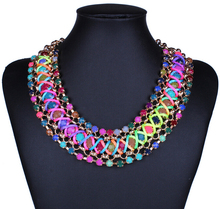 2016 Fashion Necklaces Women Female collar multi layer knitted crystal short  Necklaces Bijoux Statement