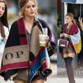 Oversized Sweater Cardigan Thick Olivia Palermo Runway Catwalk Street Snap Knitted Cardigan Plaid Cape Poncho Shawl