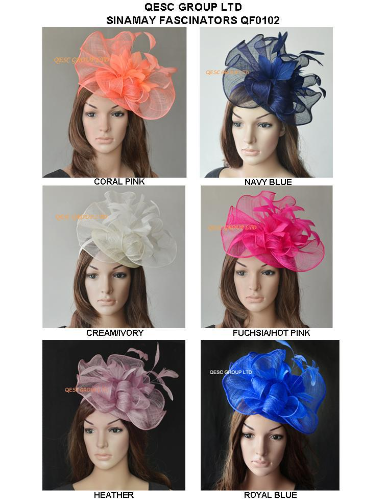 NEW ARRIVAL.Big Sinamay fascinator hat with feathers for kentucky derby wedding.coral,fuchsia,navy blue,cream and heather pink(China (Mainland))