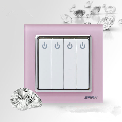 UK Standard Luxury pink glass Switch Panel wall switch,110~250V 10A touch swich and 4 gang1 way light Switch