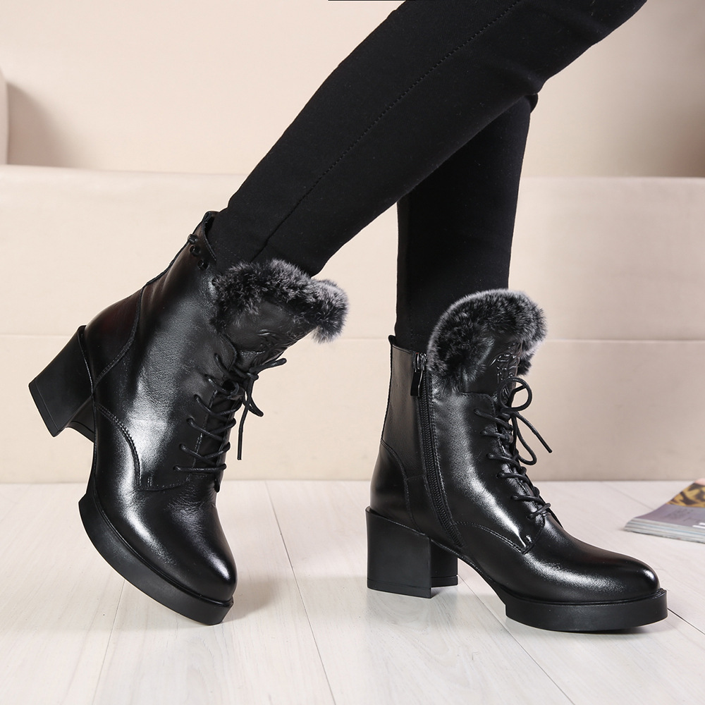 Hot Sale British Style Women Genuine Leather Boots Thick Heels Black Ladies Martin Booties Winter Fur Boot Shoes De Mujer xz005<br><br>Aliexpress
