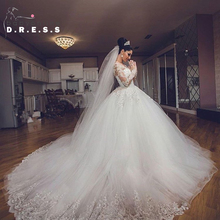 Luxurious Lace V-neck Long Sleeve Wedding Dresses 2016 Beaded Chapel Train Ball Gown Wedding Gown Bridal Gown Vestidos De Novia(China (Mainland))