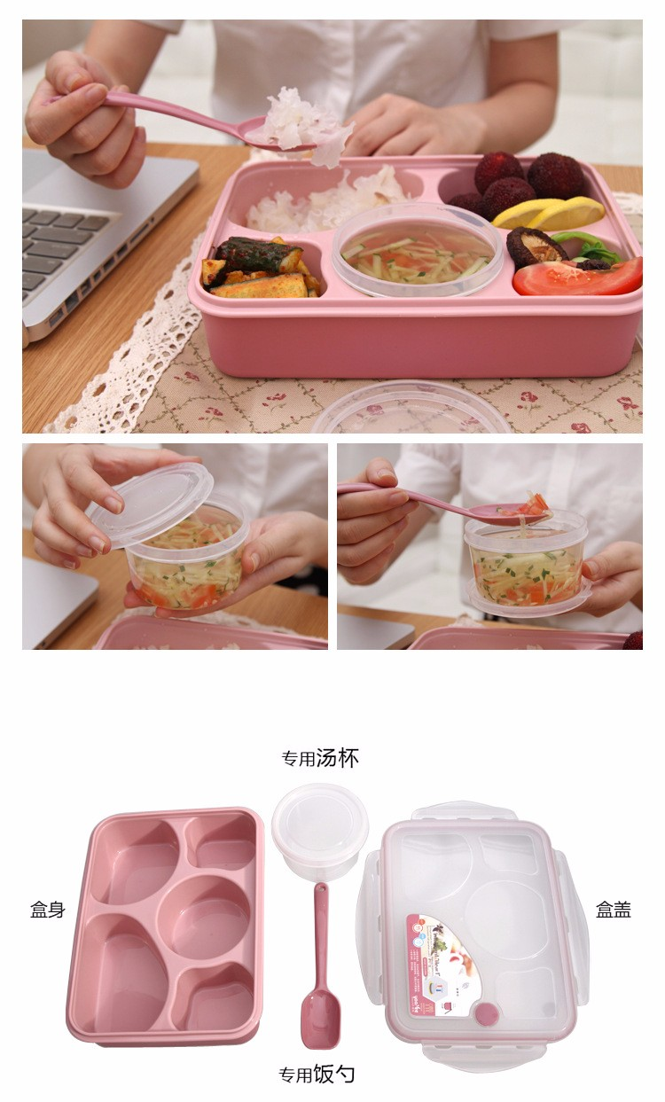Kitchen 5 Plus 1 Sealed Microwaveable Bento Box