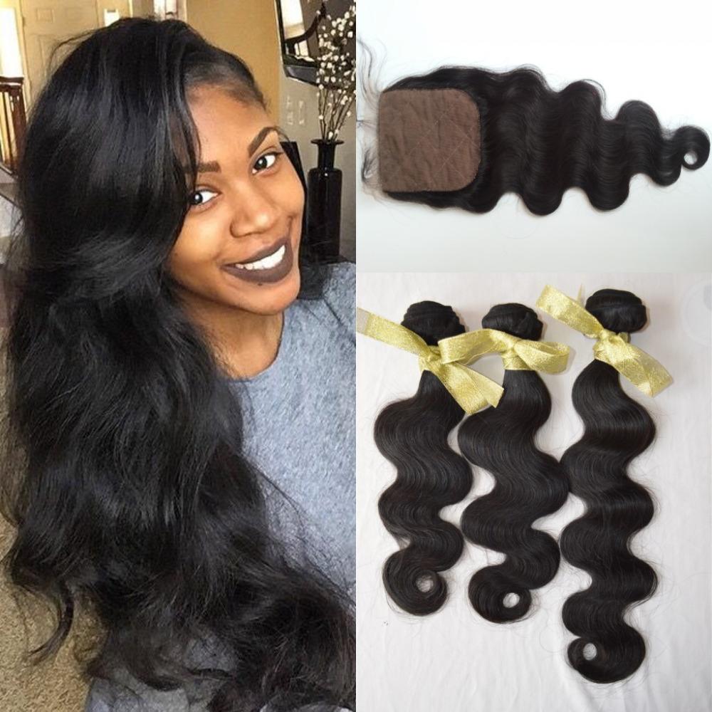 1 PC Silk Base Closure With Bundles 3PCS Malaysian Virgin Hair Body Wave,3 part closure 4*4 malaysia virgin hair,natural black<br><br>Aliexpress