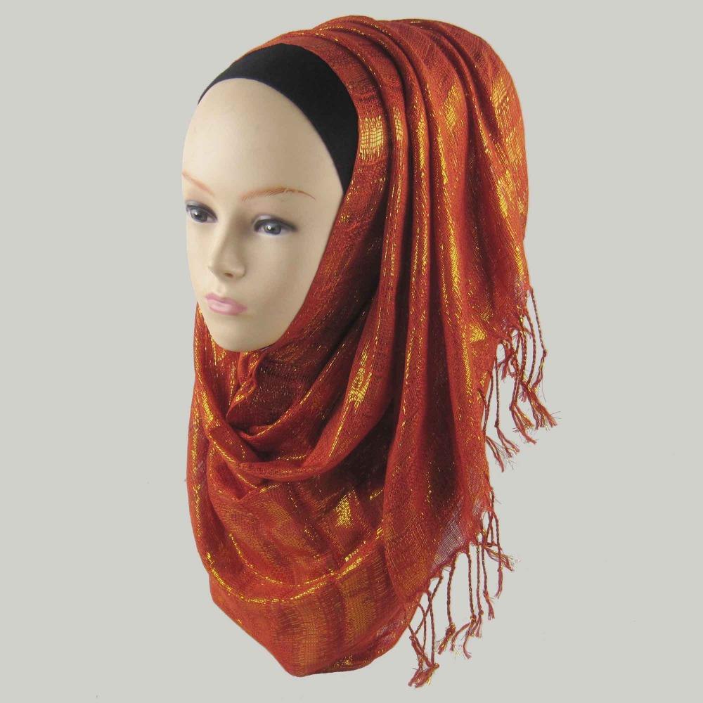 Glitter gold lurex hijabs for Women Newest Fashion Muslim scarf & Wrap 16 colors 170*50cm Islamic headband free shipping(China (Mainland))