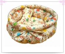 100% PP cotton dog Beds ,soft warm dog sofa, luxury cat nest bowknot warm round beds(yellow) size:50 +free shipping!(China (Mainland))