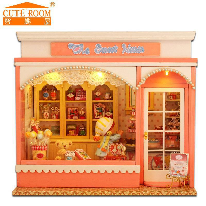 Doll home furnishings miniatura diy doll homes miniature dollhouse wood handmade toys for kids birthday present  E002