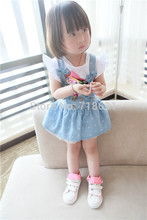 Wholesale! Baby Jeans Suspender Skirt, Girls bow cute lace skirts toddler infant vestidos 5pcs/lot d500(China (Mainland))