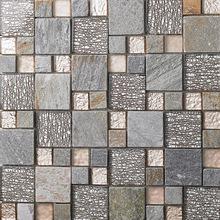 New natural stone glass mosaic tile art deco mesh mounted grays slate tile backsplash kitchen bathroom wall flooring shower tile
