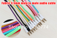Colorful Braided Fabric 3.5 to 3.5 Male to Male  Car Aux Audio Cable for iphone Headphone Mp3 Mp4 Free Shipping 20pcs/lot