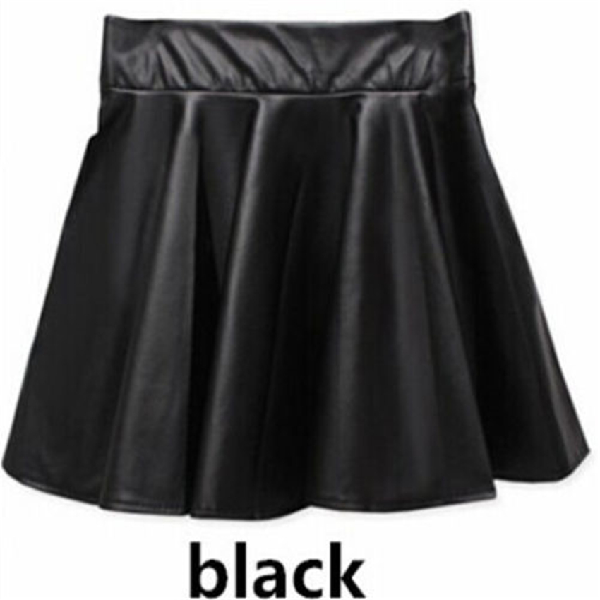 new 2016 korean fashion black pu leather skirt