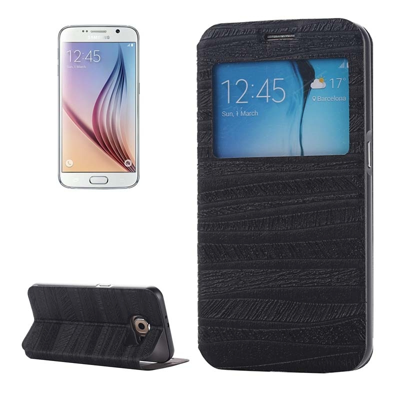 Stripe Pattern PU Leather + Acrylic Combination Case Aluminum Frame & Caller ID Display for Samsung Galaxy S6 / G920(China (Mainland))