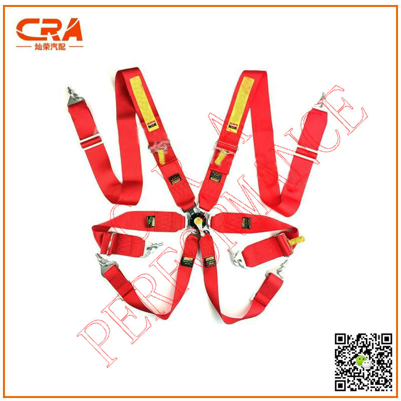 CRA Performance-SA FIA Approval 3 inch 6 point Quick Release Red Racing Safety Belts/Seatbelts/Harness(China (Mainland))
