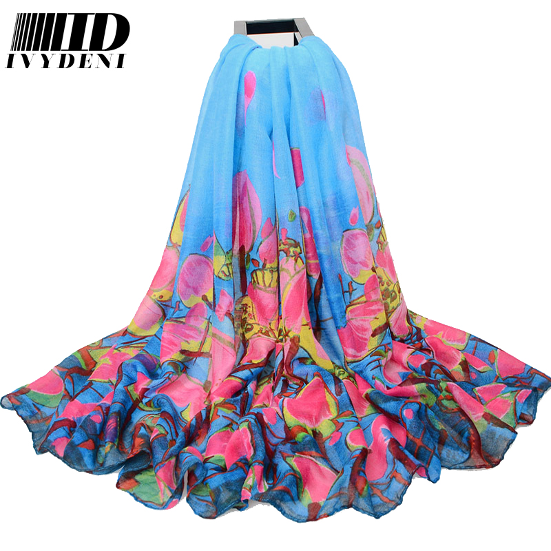 180*110cm 2016 Arrival Spring Long Voile Scarf Large Floral Cotton Scarf Women Beach Cover Ups Printed Shawl Wrap Summer Pareo(China (Mainland))