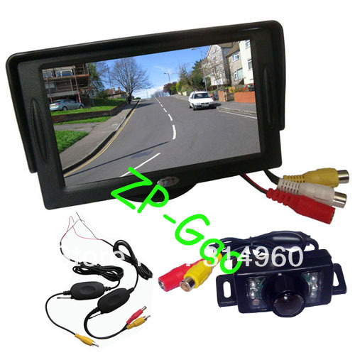 "New 7 IR LED Wireless Reverse Reversing Camera + 4.3"" LCD Monitor Car Rear View Kit Free Shipping(China (Mainland))"