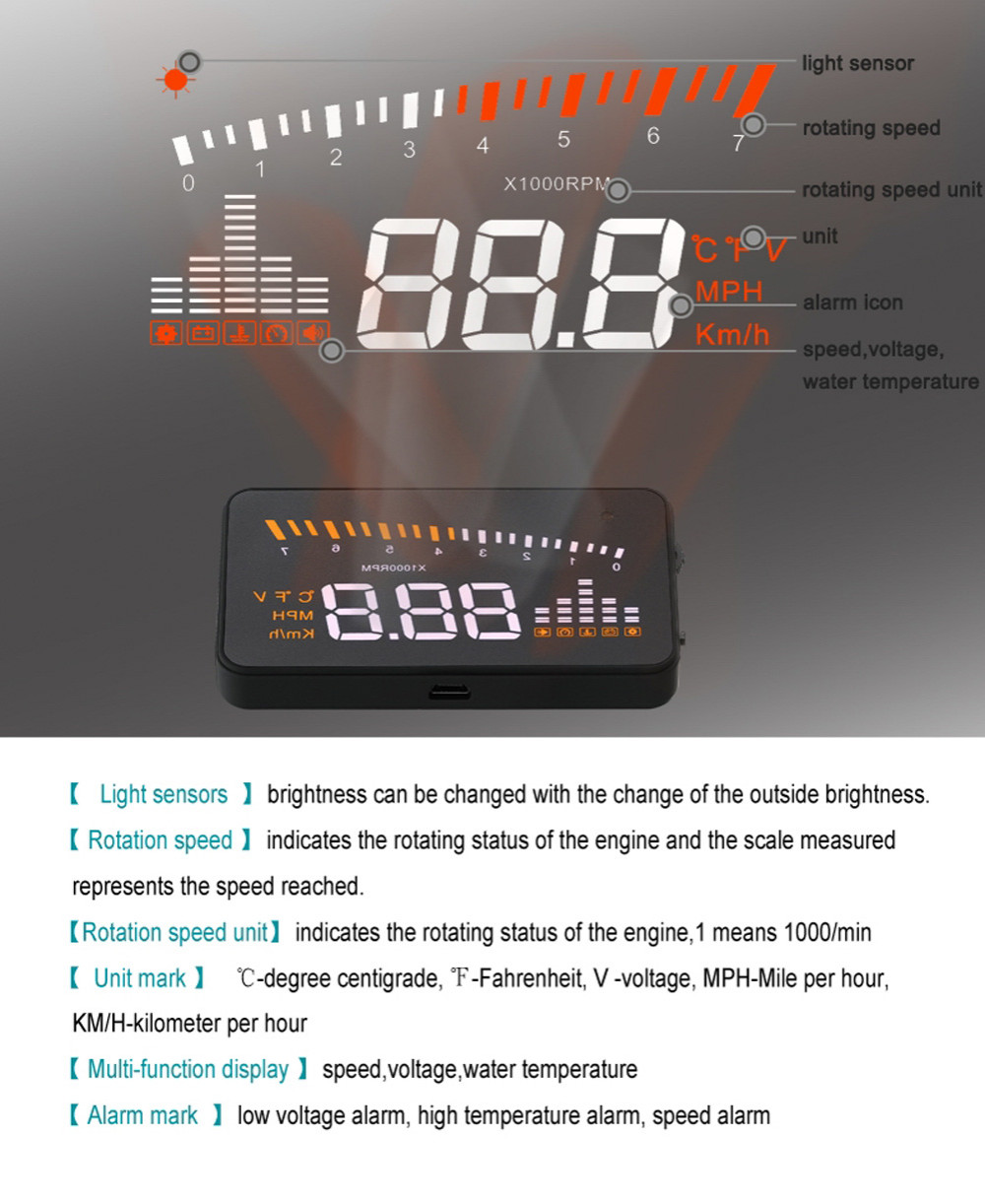 X5 3inch Auto Car HUD Head Up Display  Over speed Warning Windshield Project Alarm System OBD2 II Interface