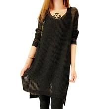 Fashion Womens Long Sweater Dress Long Sleeve Round Neck Irregular Hem Hollow Knit Loose Short Dress Baggy Vestidos(China (Mainland))