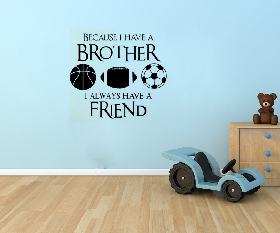 Creative Vinyl Brothers Friends Kid Room Sports Wall Sticker Football Removable Spourts Wall Decals(China (Mainland))