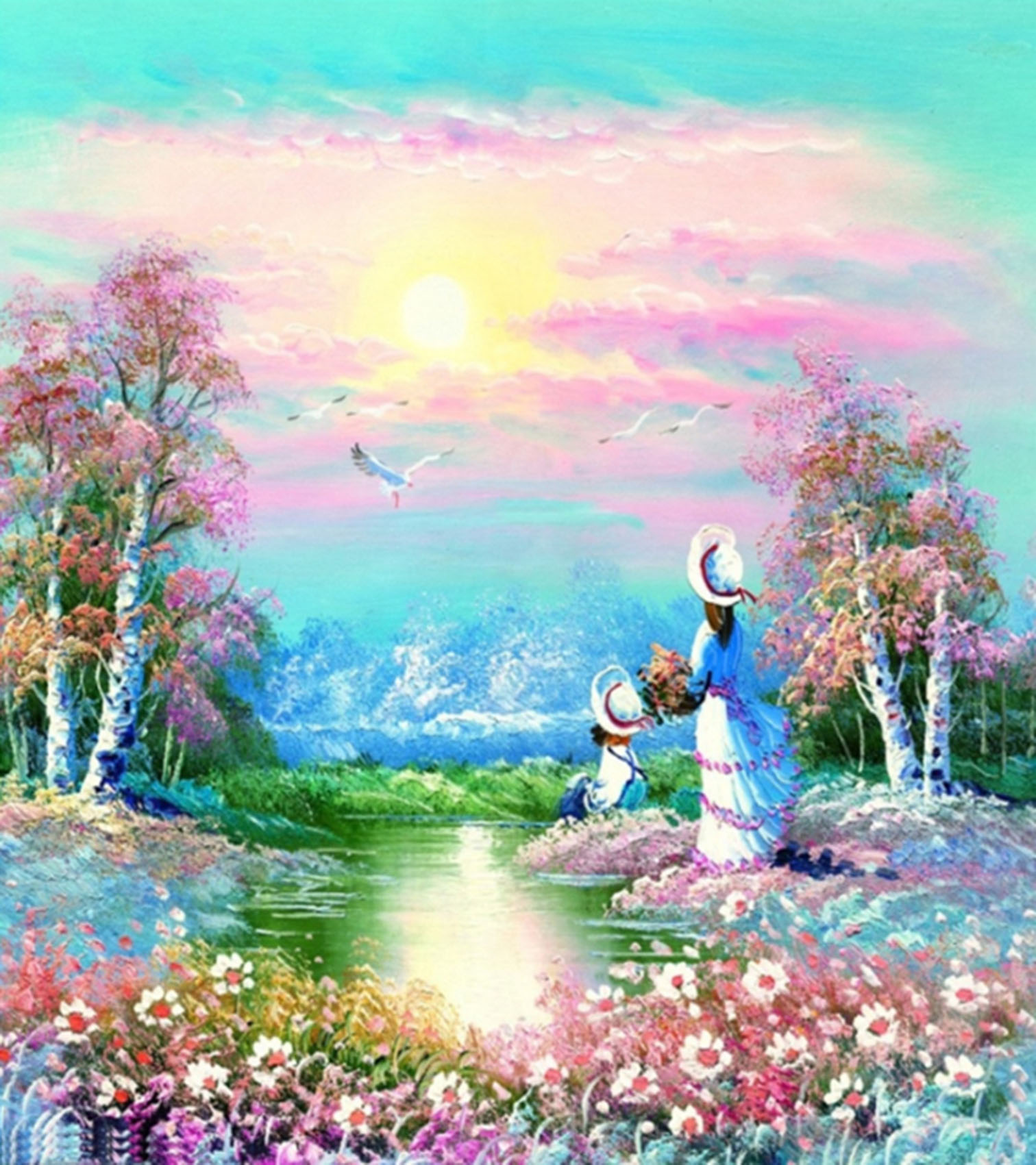 NEW DIY 5D Diamond Painting Tree River Mother and child Swan Hand Embroidery Cross Stitch Household And Gift Items Home Decor(China (Mainland))