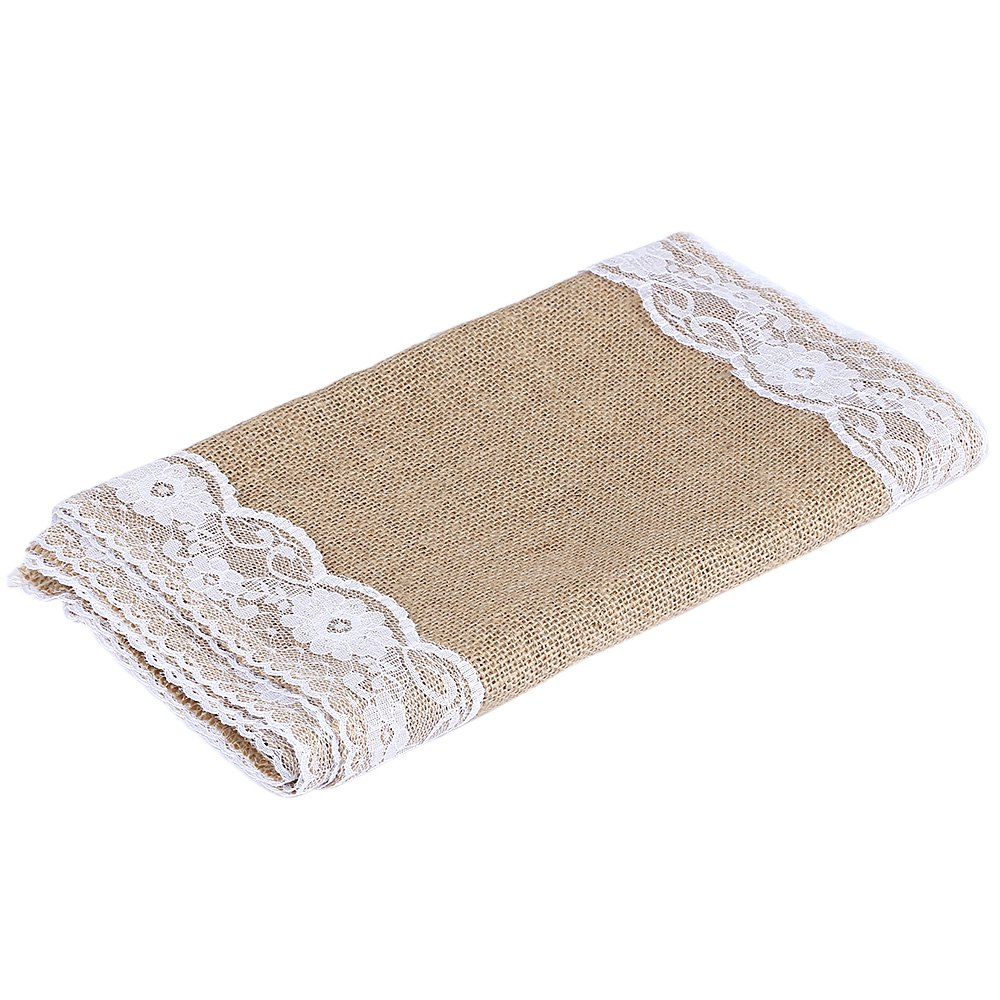 Hot Sale 12 x 108 Inches elegant White Burlap Lace Natural Hessian Natural Jute Table Runner for Wedding Party Table Decoration(China (Mainland))