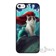 For iphone 4/4s 5/5s 5c SE 6/6s plus ipod touch 4/5/6 back skins mobile cellphone cases cover Grumpy Cat Little Mermaid