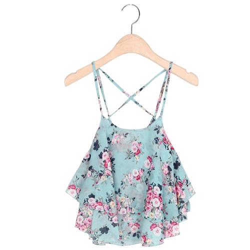 Sexy Print Chiffon Sleeveless Women Camis Cropped Ladies Spaghetti Strap Crop Tank Top Flower Floral Blouse 2015 Fashion Summer(China (Mainland))