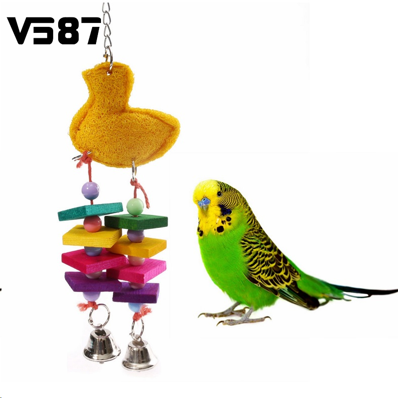 1Pcs Colorful Bird Chewing Toys Cage Swing Bites Pet Parrot Toy Parakeet Budgie Playing Supplies(China (Mainland))
