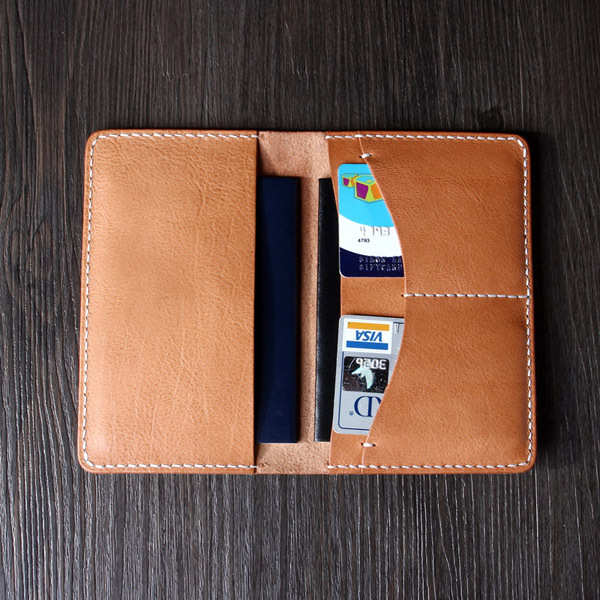 Italian Vegetable Leather Passport Holder Card Case
