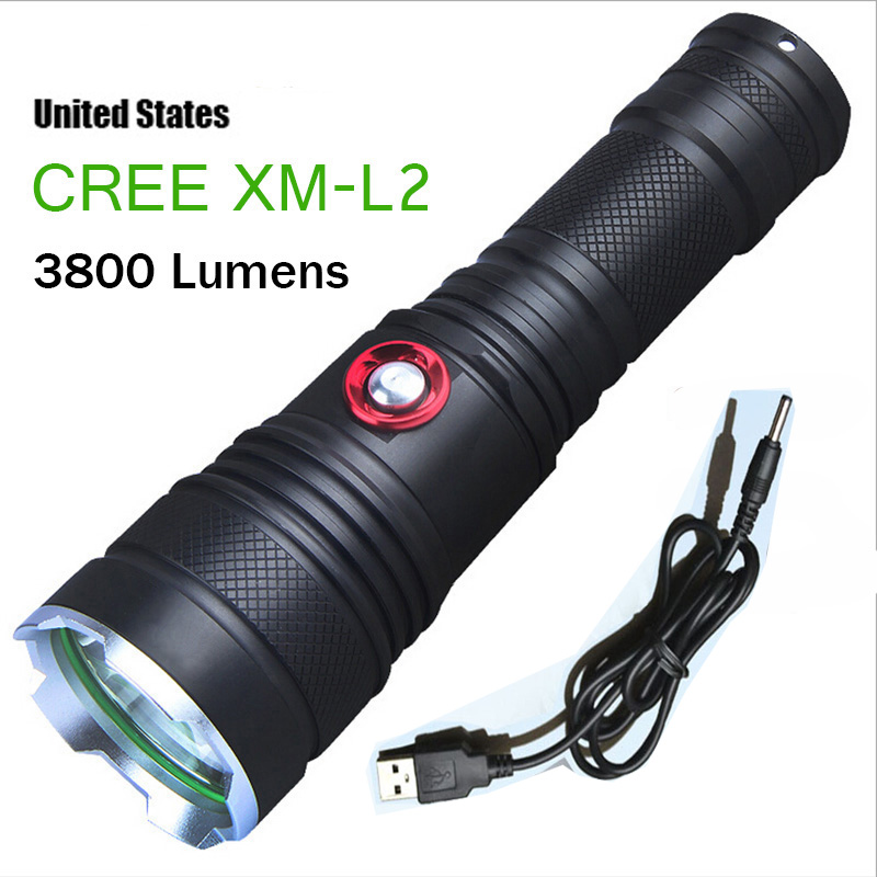 High power tactical flashlight CREE XM-L2 3800 Lumens 5 mode of Rechargeable LED flashlight torch with USB charging line(China (Mainland))