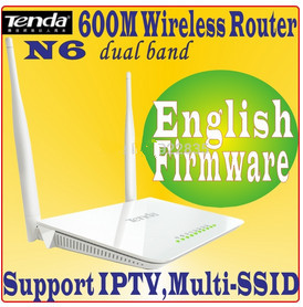 Eng-Firmware Tenda N6 wireless router Dual Band 600Mbps wifi dual ssid iptv dual band 2.4G+5G for HD media N600 AP Router(China (Mainland))