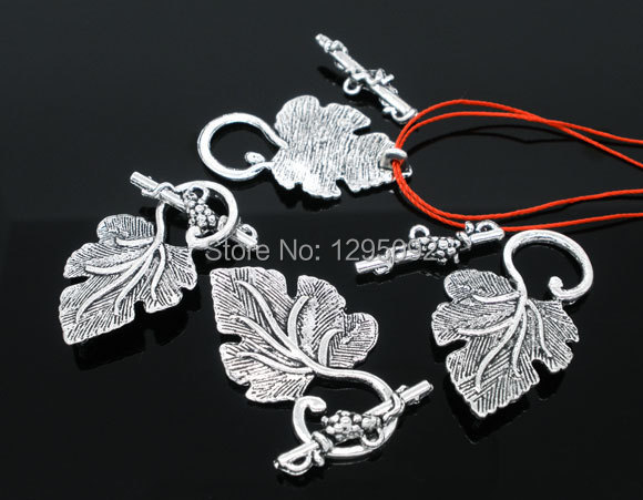 500Sets Wholesale Silver Tone Grape Leaves Toggle Clasps Fit Bracelets / Necklaces Jewelry Making Component 37x23mm<br>